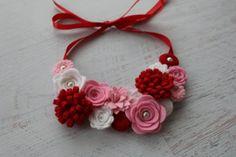 Valentine Wool Felt Flower Bib Necklace - White, Pink, Red - Open Tieback on Etsy, $29.99
