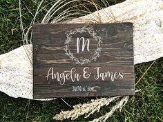 Looking for a classic custom wedding sign you can hang in your home? Search no more! This beautiful custom wedding wood sign is well built and ready to hang in your home after your big day. Hang a stunning reminder of your beautiful moment and enjoy it fo Wedding Ceremony Signs, Wood Wedding Signs, Wedding Welcome Signs, Wedding Signage, Wedding Guest Book, Diy Wedding, Rustic Wedding, Wedding Ideas, Wedding Venues