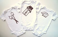 Roasted Marshmallow S'mores Set of Three Onesies or by MoMoPics