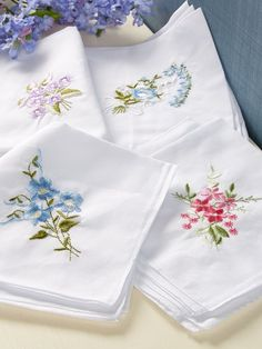 Ladies hankies are pretty and practical with floral embroidery. Cotton handkerchiefs in 4 patterns are a special luxury. Handkerchief Embroidery, Handkerchief Crafts, Embroidered Pillowcases, Hand Embroidery Stitches, Vintage Embroidery, Embroidery Techniques, Embroidery Patterns, Hand Stitching, Embroidery Monogram