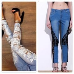 Flash Sale‼️ Dark Denim Black Lace Trim Jeans! These pants are trendy and fashionable. Perfect jeans with lace sides to make a fashion statement. These jeans are unique and classy! Equivalent to size 28/29 jeans. See Asian to US measurements below. These are the same pants as pic 1 on left. These are just the darker denim w/ black lace. Pants Ankle & Cropped
