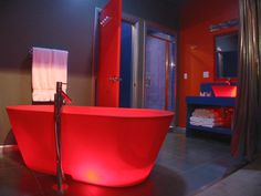Ooooh, red glowing tub...not weird at all.  Freaky factor...NONE!  (sarcasm)