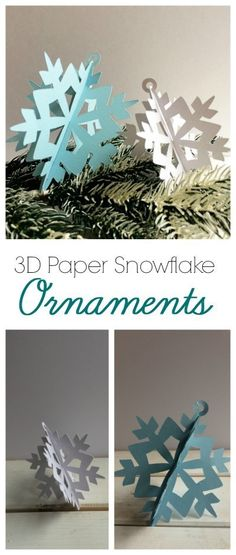 The Perfect Christmas Ornament For A Family With Small Kids. Paper Ornaments That Are Free To Make And Won't Shatter. Look at These Paper Snowflakes And Other Paper Ornaments. Diy Christmas Snowflakes, 3d Paper Snowflakes, Paper Christmas Decorations, Paper Christmas Ornaments, 3d Christmas, Snowflake Ornaments, Christmas Projects, Snowflake Origami, Origami Ornaments