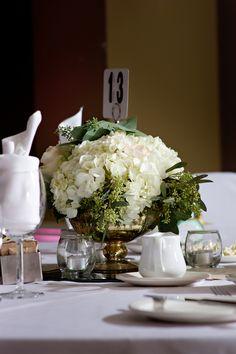 White Hydrangea and Seeded Eucalyptus Centerpiece