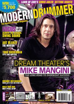 March 2012 issue of Modern Drummer magazine featuring Mike Mangini of Dream Theater