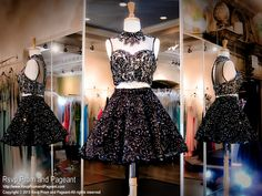 This is the ultimate lace two piece short dress with its high illusion neckline and poofy skirt completely covered with AB crystals. Perfect for homecoming or sweet sixteen and it's at Rsvp Prom and Pageant, your Atlanta Prom Store!