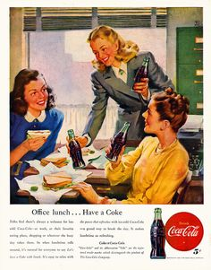 It's Cokes all around for this lovely trio of 1940s office workers. vintage ad for soda pop,Coke cola 1940s