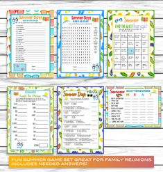 Summer Fun Games, Summer Party Games, Trivia , Scattergories, Word Search, Family Reunion Games, Printable Games, Instant Download Summer Party Games, Adult Party Games, Fun Games, Summer Fun, Summer Parties, Senior Citizen Activities, Party Activities, Family Reunion Games, Family Reunions