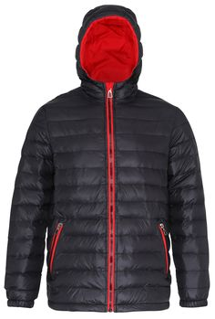 Men's Padded Jacket with Hood, Black/Red