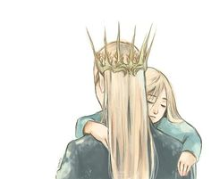 Artwork by fruitscake....Little Legolas asleep in Daddy's arms! So cute!