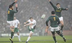 Ireland's Brian O'Driscoll attempts a drop goal during their match against South Africa at Croke Park.