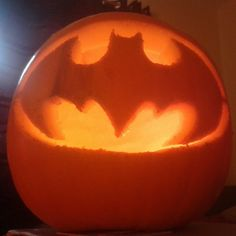 My Batman pumpkin done in 2013 Batman Pumpkin, Himalayan Salt Lamp, Halloween Pumpkins, Pumpkin Carving, Halloween Gourds, Pumpkin Carvings
