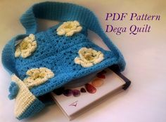 Crochet pattern - Blue bag with flowers Bag Patterns, Crochet Patterns, Blue Bags, Quilts, Purses, Flowers, Handbags, Crochet Pattern, Quilt Sets