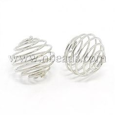 Iron Spiral Bead Cages, Round, PlatinumSize: about long, wide, hole: Cage, Ornament Hooks, Creations, Place Card Holders, Iron, Beads, Bracelets, Jewelry, Turntable