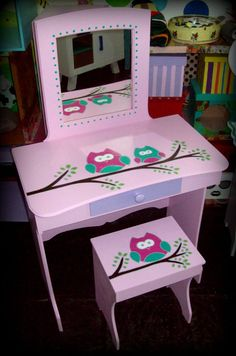 Tocadores Para Nenas!! Decoracion, Moviliario Infantil!! - $ 1.800,00 Funky Painted Furniture, Colorful Furniture, Baby Furniture, Pallet Furniture, Girl Room, Girls Bedroom, Kids Dressing Table, American Girl Birthday, Makeup Room Decor