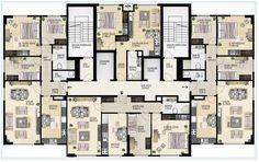 Pendik Royal Architecture Plan, Residential Architecture, Residential Building Plan, Planer Layout, Building Layout, Apartment Floor Plans, Family House Plans, Apartment Layout, Plan Design