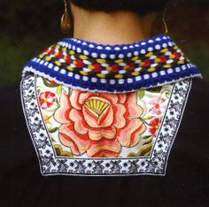 Costume of Volendam, North Holland. The Netherlands: back view of the 'kletje' (black bodice) being worn, showing the embroidery on the 'kraplap' (square piece). Folk Costume, Mixing Prints, Traditional Dresses, Pattern Fashion, Netherlands, Embroidery, Knitting, Fabric, Chopine