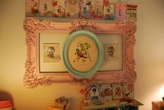 Love the pale pink frame (from Thrifty Miss Priss)...such a cute idea