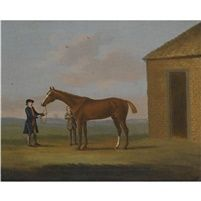 Eclipse the celebrated racehorse held by a groom by the rubbing down house Newmarket by Francis Sartorius the Elder