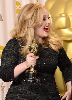 OMG!! I Won An Oscar!!!!!! #Adele Portrait by Photographer Jason Merritt for Getty Images. #TheOscars #AcademyAwards #JasonMerritt #GettyImages #Skyfall #Daydreamers