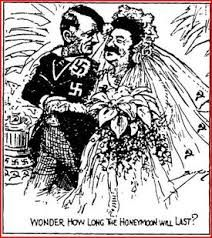 a cartoon depicting the Nazi-Soviet Pact. Remember Hitler and Stalin eventually… Caricature, Francisco Miranda, Appeasement, Joseph Stalin, Ap World History, Second World, Japan, Soviet Union, Political Cartoons