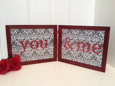 8X10 You and Me Red Distressed Double Wood Frame/Red Black White/Valentines Day Decor/Love Art/Valentines Day Love Gift/Holiday Decoration