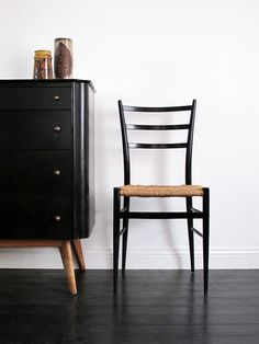 Stunning 'Ponti' style black & cord dining chairs...it's all about proportions!