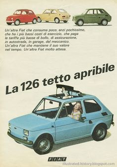 FIAT 126 1974 Werbung – rob mental – Join in the world of pin Fiat 126, Retro Ads, Vintage Advertisements, Vintage Ads, Vintage Italian Posters, Fiat Cars, Automobile, Ad Car, Fiat Abarth