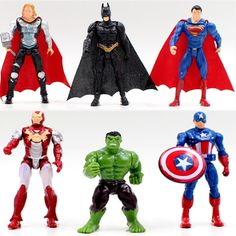 Cheap Action Toy Figures, Buy Directly from China Superhero Avengers Iron Man Hulk Captain America Superman Batman Action Figures Gift Collection Of Childrens Toys Marvel Avengers, Avengers Characters, Iron Men, Captain America, Iron Man Hulk, Hulk Man, Batman Figura, Batman Action Figures, Batman And Superman