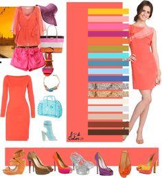 "Photo from album ""модные цвета"" on Yandex. Colour Combinations Fashion, Color Combinations For Clothes, Fashion Colours, Colorful Fashion, Color Combos, Rose Orange, Vintage Street Fashion, Bleu Royal, Color Me Beautiful"