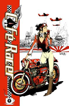 Cafe Racer Issue sweet cover design illustrated by Sean Gordon Murphy must to read the comic Cafe Bike, Cafe Racer Motorcycle, Motorcycle Art, Bike Art, Motorcycle Girls, Motorcycle Tattoos, Cafe Racer Girl, Cafe Racer Build, Harley Davidson