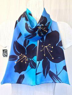 Hand+Painted+Silk+Scarf+Black+Lilies+Blue+by+SilkScarvesTakuyo