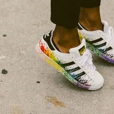 Rainbow Adidas Superstars at #NYFW Men's // #shoes // More looks: