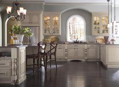 Cream Kitchen Cabinets with Glaze - Schrock Cabinetry Cream Colored Kitchen Cabinets, Glazed Kitchen Cabinets, Kitchen Cabinet Colors, Kitchen Redo, Kitchen And Bath, Kitchen Remodel, Kitchen Ideas, Cream And White Kitchen, Kitchen Cabinets Brands