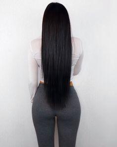 Long Straight Shiny Black Hair @LamiaDagher  youtube: Lamia Dagher #hair #hairgoals #longhair #blackhair