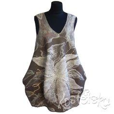 """Платье-балон """"Лилия"""". Широкое- свободное платье с карманами. Цельновалянное. Тонкое, мягкое, нежное, красивое!"""