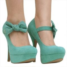 Women's Qupid Green Mary Jane Bow Pumps from ILoveCuteShoes.com