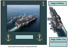 aircraft carrier on Craftsuprint designed by Heather Howes - a great male card for all ages - Now available for download!