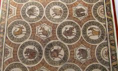 """Museum of Bardo: mosaic portraying animals used in """"venationes"""" (slaying of wild animals in the amphitheatres) from the House of the Protomes (busts) in Thuburbo (early IVth century AD). A very similar mosaic was found in the House of the Tied Animals"""