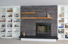 Inspired Lennox Fireplaces vogue Detroit Modern Living Room Decorators with black fireplace black quartz hearth built in shelves Lennox fireplace modern built in shelves