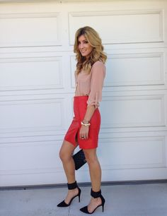 Blush button down, red leather skirt, gold jewelry, black heels and Chanel bag
