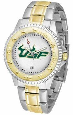 South Florida USF Bulls Men's Two Tone Dress Watch by SunTime. $86.95. Links Make Watch Adjustable. Gold Ion-Plated Bezel-Date Function. Two-Tone Stainless Steel. Men. Officially Licensed South Florida Bulls Men's Two Tone Dress Watch. South Florida Bulls men's two tone gold and stainless steel dress watch. This Bulls timepiece offers men a classic, business-appropriate look. Features a gold ion-plated bezel, stainless steel case and date function. Secures to your wri...