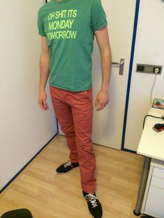 These clothes I would wear on a summer sunday. The green and red match perfect with these casual blue shoes. A more classic combination.