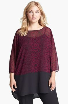 DKNYC Contrast Hem Print Tunic (Plus Size) available at #Nordstrom