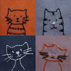 Embroidered Cats