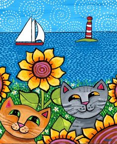 Cats sunflowers sailboats lighthouse - Nova Scotia Shelagh Duffett Print Cecil and Betty Nova Scotia Print by AliceinParis on Etsy, Cat Drawing, Drawing For Kids, Painting For Kids, Art For Kids, Art Fantaisiste, Frida Art, Cat Quilt, Pintura Country, Arte Pop
