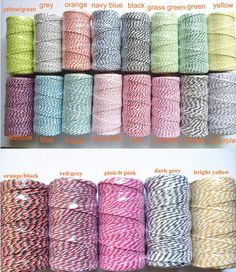 100 Yards of Colored Baker's Twine Cotton by TheLittleHatterbox, $2.25 plus US post