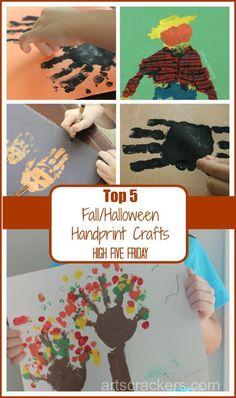 Top 5 Fall Halloween Handprint Crafts --> handprint crafts are SUPER cute for little guys!