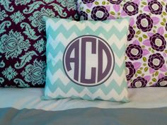 Monogram throw pillow, $15.00, via Etsy.
