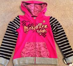 Monster High Girl's Hoodie Jacket Size 6/6X NEW style with tags Coat